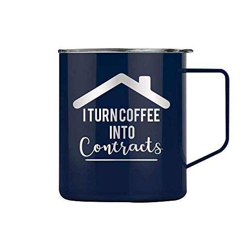 (I Turn Coffee Into Contracts Real Estate - Tumbler Cup Glass Mug Perfect Funny Birthday Gifts for Men or Women Wife Realtor (14 oz Mug, Navy))