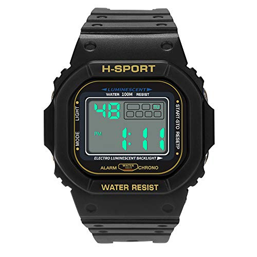 Mens Watches,Fxbar Fashion Digital Sports Watch Waterproof Sport Analog Dive Watch Multifunction Automatic Watch (Black)