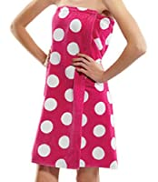 Terry Womens Bath Wrap Towels, Cotton Polka Dot Cover Ups for Ladies