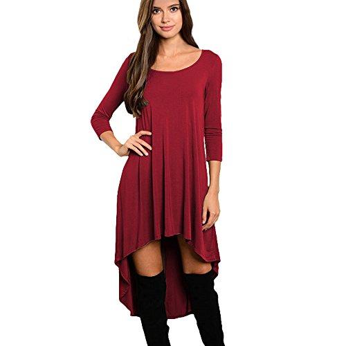 Ularma Vestido de mujer manga larga Irregular O cuello Casual sueltos Rojo