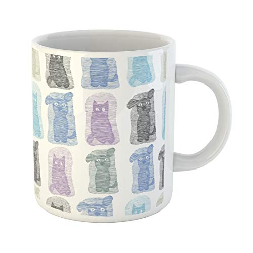 Tarolo 11 Oz Mug Coffee Mug Ceramic Tea Cup Colorful Pattern Cat and Dog Animals Funny Striped Pets Abstract Breed Cartoon Large C-handle Family and Office Gift