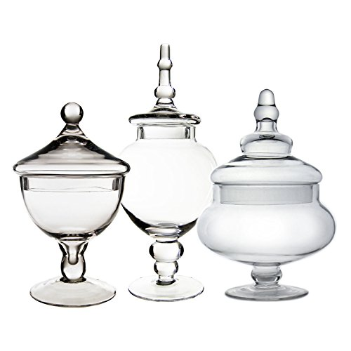 CYS EXCEL Candy Jar, Glass Apothecary Jar, Set of 3, Candy Buffet Jar, Glass Jar with Lid, 3 Sizes. H-10, Open D-5.25