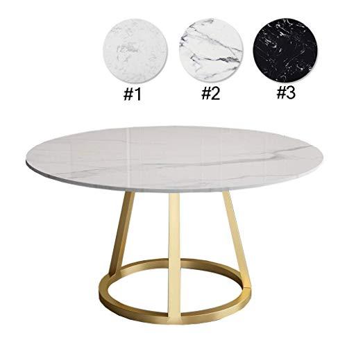 Moderna sala de estar mesa redonda Tablas simplista redonda Mesa de cafe de marmol base de oro for el hogar Comedor, Blanco, D: 80cm x H: 75 cm, de escritorio y Frame colores se pueden personalizar Vi
