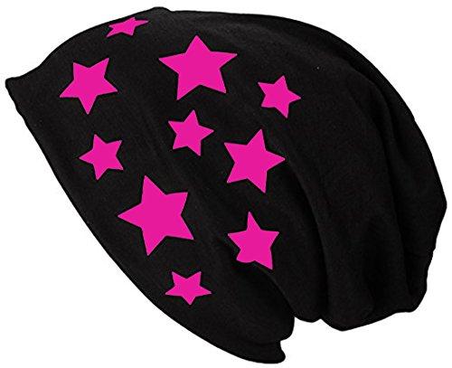 2Store24 Gorro Jersey Largo Beanie con Estrellas Primavera verano Mujer y Hombre Fuchsia