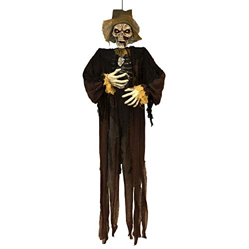 (Sheerlund HG18066 Life Size Hanging Scarecrow Skeleton with Glowing LED Eyes Halloween Decoration Prop, 66 in.,)
