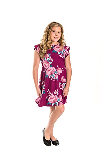 Smile You Are Beautiful Girls Kids Full Size Brushed Floral Print Ruffle Cap Sleeve Skater Dress Plum/Mauve Size 16.5 (Beautiful Girls Clothing)