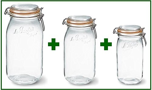 UPC 784672861519, Set of 3 - Le Parfait French Super Canning Jars With Bail Lid - 101 oz / 3 liters, 68 oz / 2 liters, and 51 oz / 1.5 liters