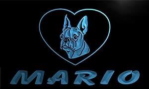 vc144-b Mario Boston Terrier Dog Name Love Neon Night Sign