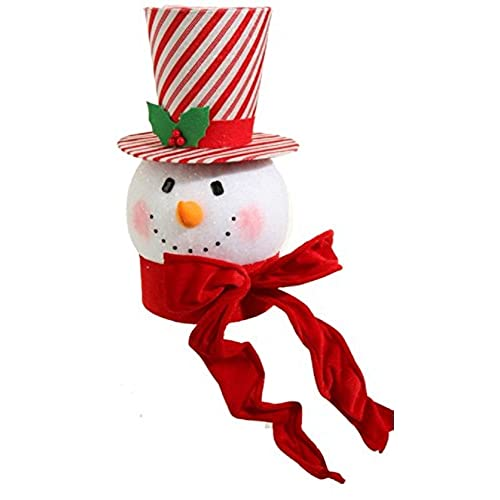 raz imports 15 peppermint snowman head christmas tree toppers striped hat