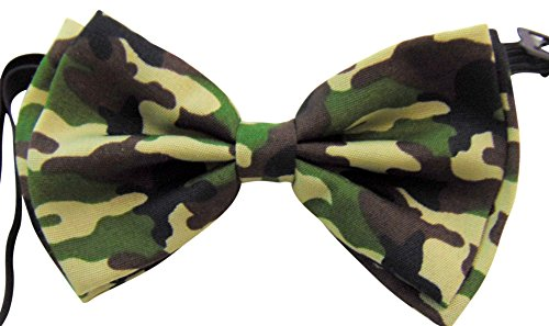(Green Camo Bow-Tie Pre-tied Adjustable Camouflage Bow Tie Formal Tuxedo Wear)
