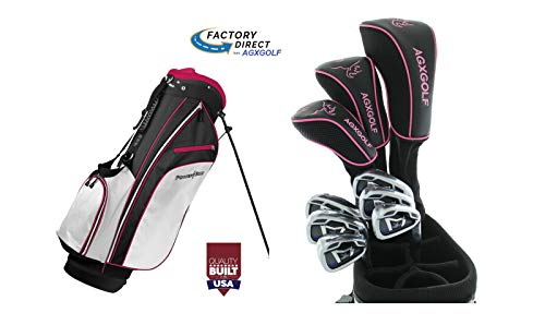 AGXGOLF Ladies Edition Magnum (Pink/Magenta) Right Hand Complete Golf Set: 460 Driver, 3 Wood, 3 Hybrid + 5-9 Irons + Pitching Wedge+Stand Bag; Ladies Flex; Regular Length: USA!
