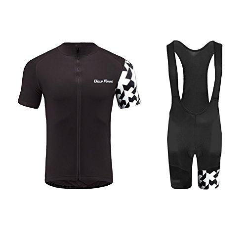 Free Short Cycling Bib (Uglyfrog 2017 Mens Short Sleeve Cycling Jersey+Short Bib Sets With Gel Pad Outdoor Sports Summer Style Bike ClothesCCJ11)