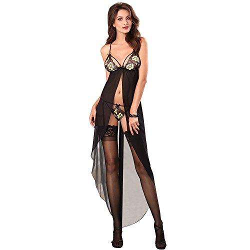 QueenMoon Sexy Lingerie For Women For Sex Lace Long Chemise Mesh Gown Embroidery Robe Evening Dress Clubwear (Black Women Sex)