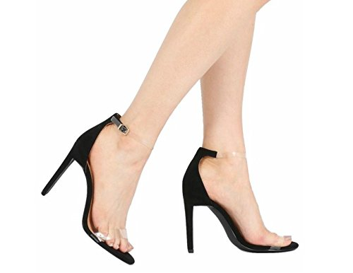Womens Ladies Party Classy Barely There Clear Perspex High Heel Stiletto Two Part Ankle Strap Sandals Black Faux Suede luMVUswm