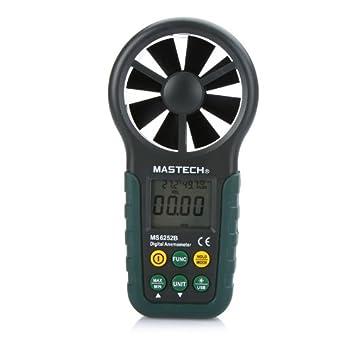 Anemómetro digital portátil de mano electrónico LCD de velocidad de viento de volumen de aire Medidor de temperatura y humedad USB Display Data actualizada: ...