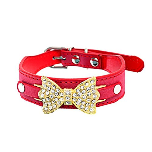 Pet Collars,Haoricu Dog Puppy Cat Bling Crystal With Leather Bow Necklace Hot (M, - Designer Collars Nylon Dog