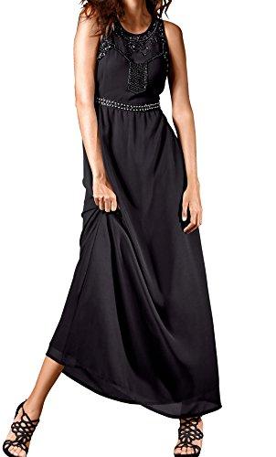 schwarz Gr Gr Chiffon Gr Gr 38 Kleid 42 44 40 46 Marken 0616120493 48 Gr Gr Perlenstickerei TEfBxR