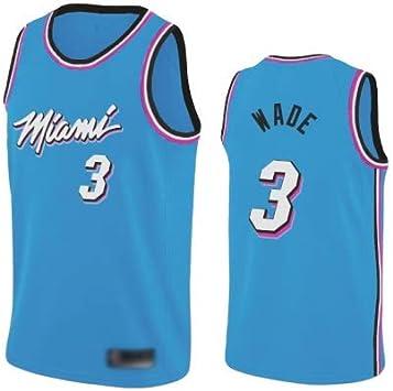 WOLFIRE WF Camiseta de Baloncesto para Hombre, NBA, Miami Heat Vice Nights #3 Dwyane Wade. Bordado, Transpirable y Resistente al Desgaste Camiseta para Fan: Amazon.es: Deportes y aire libre