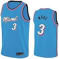 WOLFIRE WF Camiseta de Baloncesto para Hombre, NBA, Miami Heat Vice Nights #3 Dwyane Wade. Bordado, Transpirable y…