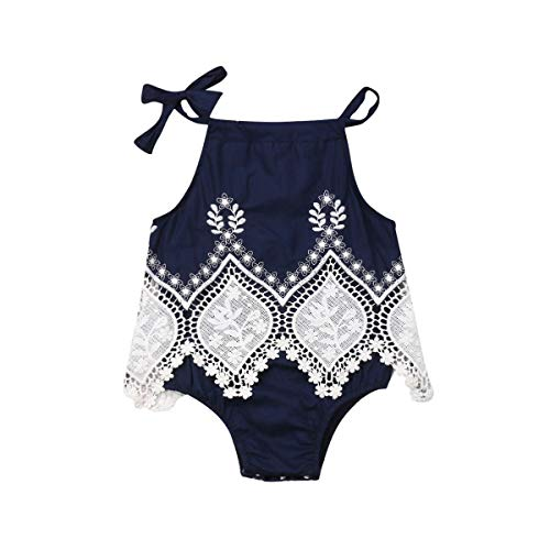 - Newborn Baby Girl Summer Clothes Halter Lace Sleeveless Romper Jumpsuit Sunsuit Bodysuit Outfit (Navy Blue 2, 6-12 Months)
