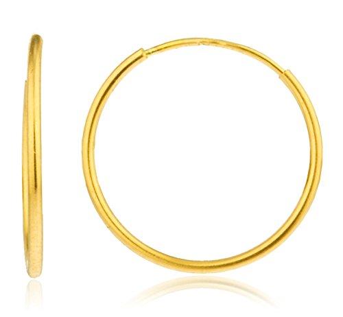 - 14k Gold 1mm Endless Hoop Earrings (16 Millimeters) (GO-1238)