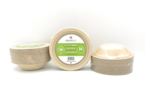 [50 COUNT] 12 oz Round Disposable Bowls - Natural Sugarcane Bagasse Bamboo Fibers Sturdy Twelve Ounce Compostable Eco Friendly Environmental Paper Bowl Alternative 100% by-product Tree Plastic Free ()