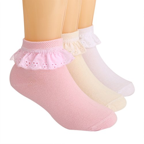 (LOSORN ZPY Toddler Baby Girls Lace Socks Pack of 3 Cotton Bobby Socks pink+white+yellow 3T-4T (14-16cm))