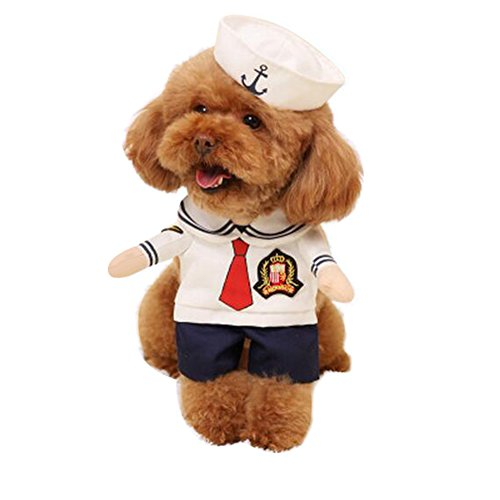 NACOCO Dog Sailor Costumes Navy Suit with Hat Halloween Christmas Pet Costumes for Puppy and Cat (L) ()