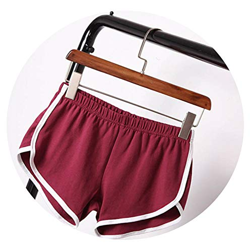New Summer Shorts Women Casual Shorts Workout Waistband Skinny Short,Wine Red,L