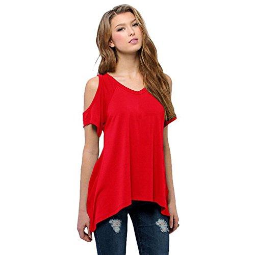 Shouhengda Summer Women Oversize T-Shirt Casual Short Sleeve Loose Tops Off Shoulder Blouse Red Medium