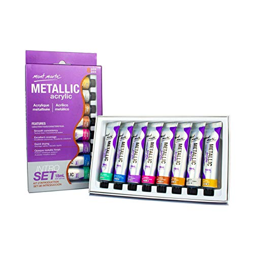 Mont Marte Acrylic Paint Set - Metallic - 8 Pieces, 18 ml Tubes - Ideal for Acrylic Painting - Brilliant lightfast Colors with high Opacity - Perfect for Beginners, Professionals and Artists (Metallic Acrylic Paint)