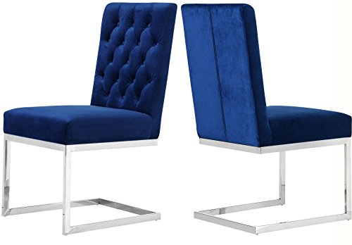 Meridian Furniture C 735Navy-C Carlton Velvet Dining Chair, Set of 2,  Navy For Sale