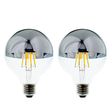 Lighting Science Mirror Finish Vintage Filament Globe LED Soft White Light Bulbs G30 60 Watt