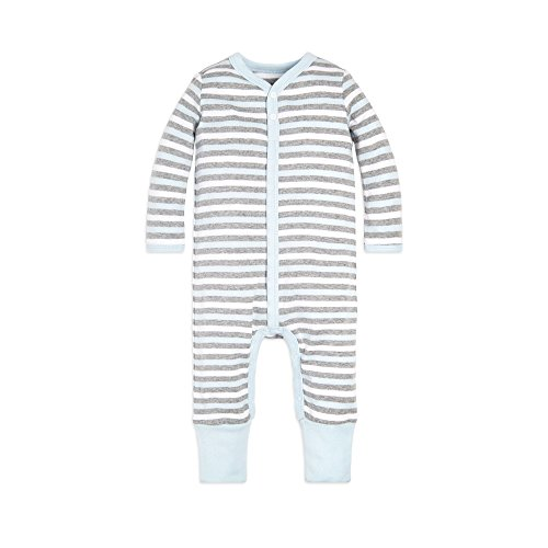 Burt's Bees Baby Baby Boys Romper Jumpsuit, 100% Organic Cotton One-Piece Coverall, Sky Multi Stripe Snap Front, 18 Months