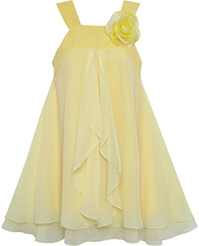 Pale Yellow Flower Girl Dresses (HJ55 Girls Dress Sleeveless Halter Flower Multi Layer Chiffon Size 8)