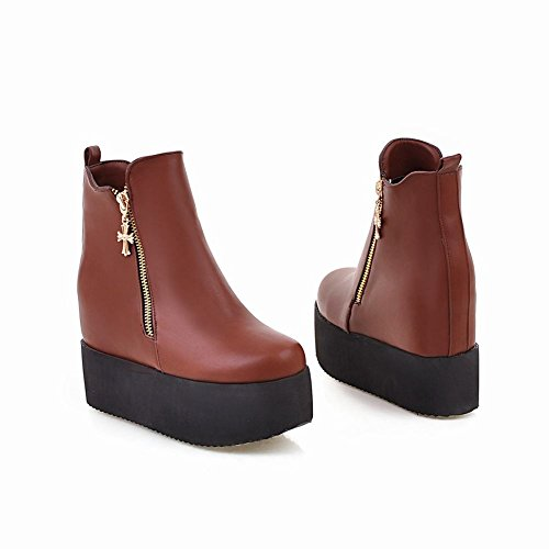 Latasa Womens Fashion Platform Wedges High Heel Ankle Boots Brown VzzHk