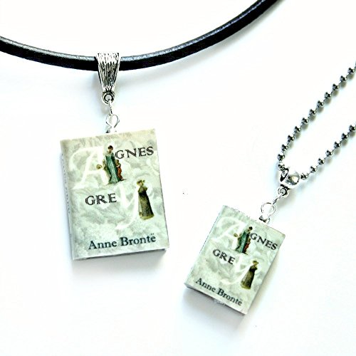 Agnes Brown Costume (AGNES GREY Anne Bronte Polymer Clay Mini Book Pendant Necklace by Book Beads Unisex)