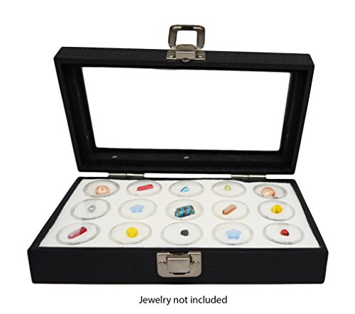 Novel Box® Medium Glass Top Black Leatherette Jewelry Display Case + 15 Count Jar Insert Tray in White + Custom NB Pouch ()