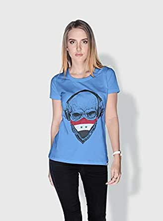 Creo Syria Skull T-Shirts For Women - S, Blue