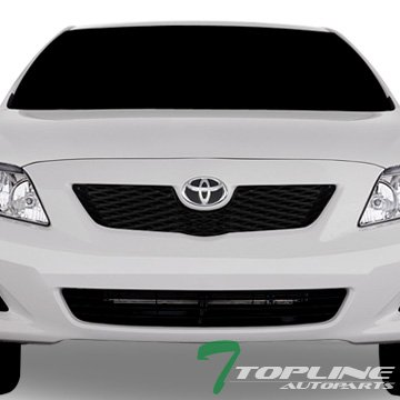 Topline Autopart Matte Black OE Mesh Front Hood Bumper Grill Grille ABS For 09-10 Toyota Corolla (10 Grille Bumper Oe)