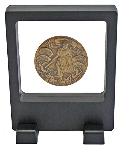Casa Medallion Trays - 3D Floating Frame, Shadow Box, Medallion Medal Challenge Coin Chip Display Case Stand Holder Magic Suspension Box (Black - Square Shape)