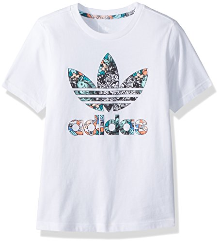 adidas Originals Girls' Big Zooanimal Print Tee, White/Multi, M