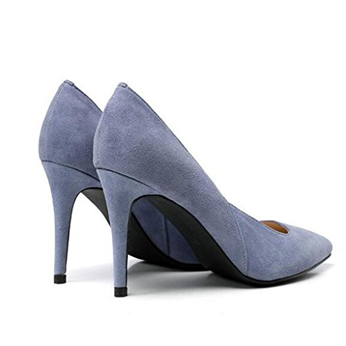 W&LM Zapato de cuero de señora Oveja de gamuza Punta de boca poco profunda Zapatos exquisitos Tacones altos Zapatos individuales Blue