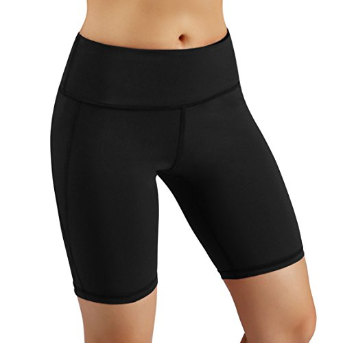 ODODOS Power Flex Yoga Short Tummy Control Workout Running Athletic Non See-Through Yoga Shorts with Hidden Pocket,Black,Medium