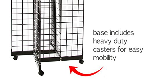 Only Hangers Black 4-Way Wire Grid Tower with Base and Casters - 2' x 6' Wire Grid Panel 4-Sided Rolling Display Rack by Only Hangers (Image #3)