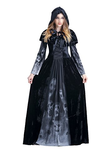 Women's Halloween Ghost Witch Hooded Costume Cloak Dress Outfit Black,Adult,Medium