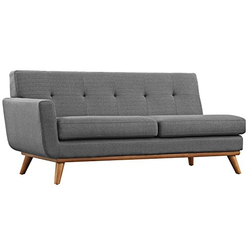 Modway Engage Mid-Century Modern Upholstered Fabric L-Shaped Sectional Sofa In Gray
