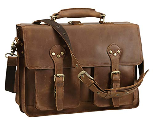 Polare 16'' Full Grain Leather Briefcase Messenger Bag Laptop Satchel for Men ()