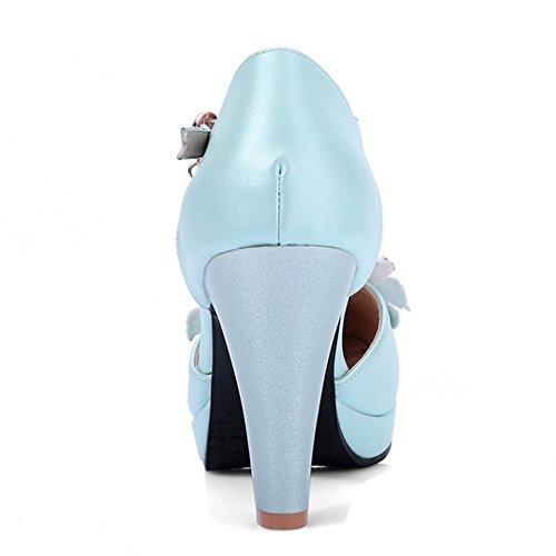 TAOFFEN Mujer Elegante Correa de Tobillo Hebilla Flor Perla Tacon Ancho Alto Sandalias Azul