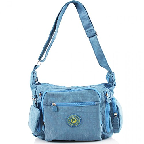 Ladies Multi Pockets Cross Body Messenger Bag Women Shoulder Tote Satchel Handbag Light Blue